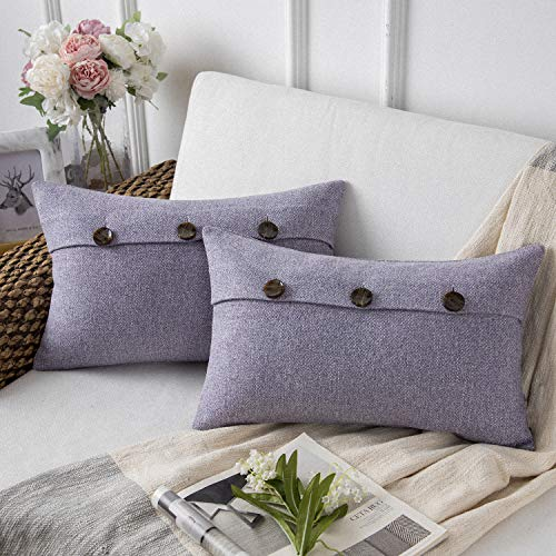 Phantoscope Farmhouse Throw Pillow Covers Triple Button Vintage Linen Decorative Pillow Cases for Couch Bed and Chair Light Purple, 12 x 20 inches 30 x 50 cm, Pack of 2