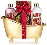 BRUBAKER Cosmetics Bade-Geschenkset Zuckerbirne & Apfel mit Deko Badewanne goldfarben 6-teilig