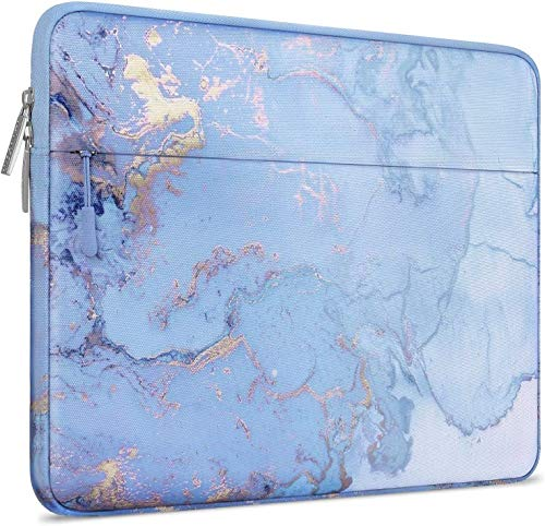 MOSISO Laptop Sleeve Compatible with 15 inch MacBook Pro Touch Bar A1990 A1707, ThinkPad X1 Yoga, 14 Dell HP Acer Chromebook, 2019 Surface Laptop 3 15, Polyester Horizontal Watercolor Marble Bag