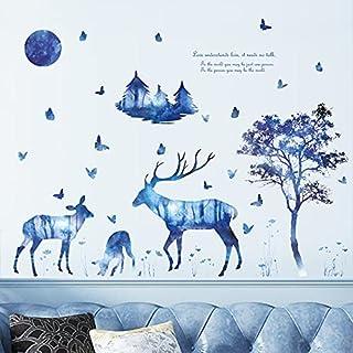AYZSZ Deer Forest Wall Stickers 3D DIY Blue Forest Wall...