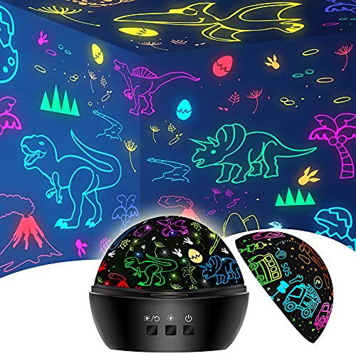 Dinosaurier Spielzeug für Jungen 3-9 Jahre, 2 in 1 Kinder Spielzeug Deko Weihnachten Nachtlicht Dinosaurier Projektor für Jungen 3-8 Jahre, Geburtstag 4-10 Jahre alte Junge