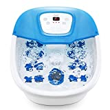 Heated Massaging Foot Bath, Foot Balneotherapy with Pedicure Stone, Massager with Vibrating Bubble Massage and 16 Massage Rollers for Relaxation of Tired Feet