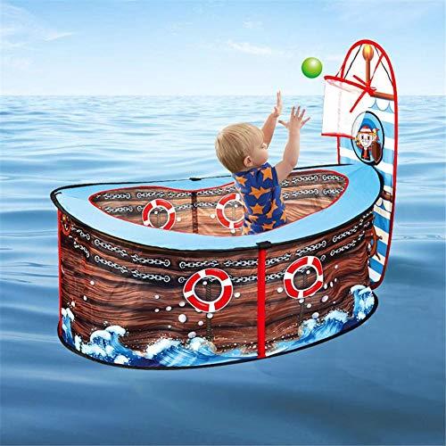 josietomy Spielzelt Kinderzelt,Piratenschiff Spielzelt Für Kinder,Faltbare Pop Up Spielzelt Spiel Spielzeug,Pool Indoor Outdoor Garten Spielhaus Spiel Zaun Mit Basketballkorb Für Kinder