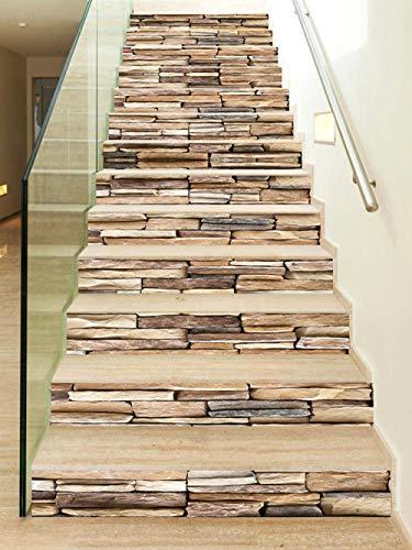 WYHK Vinilo para escalera de piedra autoadhesivas Pegatinas de escalera de vinilo extraíbles 18cm×100cm×13 piezas