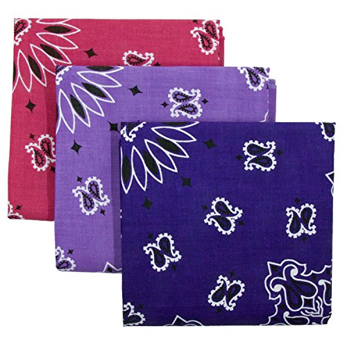 Bandana 3-Pack - Made in USA For 70 Years - Sold by Vets – 100% Cotton –Sewn Edges (Purple, Lavender, Fuchsia)