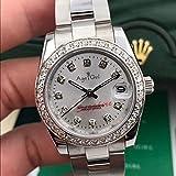 AGRGY Neue Edelstahl Saphir Uhr Damen Lady Automatische Mechanische Diamant Lünette Silber Roségold Grün Shell Datejust 31mm Weißer Diamant