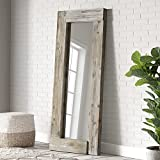Barnyard Designs 24' x 58' Decorative Wall or Floor Mirror, Rustic Distressed Unfinished Wood Frame, Vertical and Horizontal Hanging Farmhouse Mirror Decor, Natural