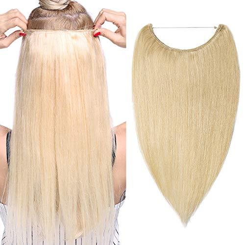 (40-55cm) Extension con Filo Invisibile Capelli Veri Lisci 60g Fascia Unica Remy Human Hair 40cm Wire in Extension - 613 Biondo Sbiancante