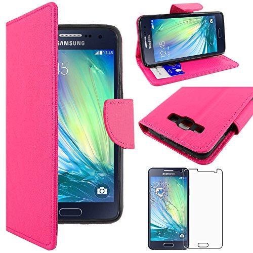 ebestStar - kompatibel mit Samsung Galaxy A3 Hülle SM-A300F (2015) Wallet Case Handyhülle[PU Leder], Kartenfächern, Standfunktion, Pink +Panzerglas Schutzfolie [Phone:130.1x65.5x6.9mm 4.5