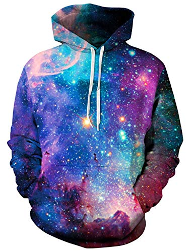 ALISISTER Unisex 3D Galaxy Pullover Hoodie Bunt Bedruckte Kapuze Sweatshirt Langarm Kordelzug Pullover XL