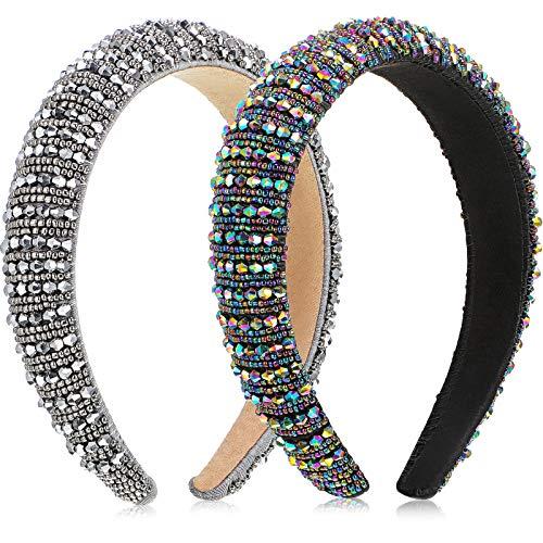 2 Diademas Diamantes Cristal Cinta Pelo con Adornos Cristal Diadema Acolchada Terciopelo Diamantes Diademas Anchas con Relleno Terciopelo Accesorios Pelo (Color Arco Iris, Plata)