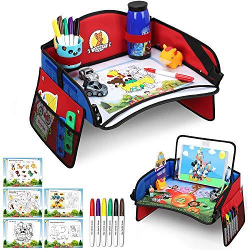 Lenbest Bandeja Viaje Coche Niños, Mesa Coche para Niños, Bandeja de Viaje con Película de Dibujo Transparente de Doble Uso & 5 Hojas de Papel de Dibujo & 6 Lápices de Colores