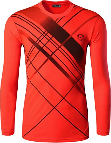 jeansian Men's Outdoor Sport Quick Dry Long Sleeves T-Shirts LA196 Orange L