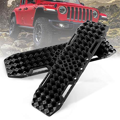 BUNKER INDUST Off-Road Traction Boards with Jack Lift Base, 1 Pair Recovery Tracks Traction Mat for 4X4 Jeep Mud, Sand, Snow Traction Ladder-Black Tire Traction Tool