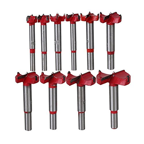 10Pcs Forstner Drill Bit Sets,15mm-50mm Tungsten Steel Woodworking Hole Saw Set Wood Boring Drill Bits Wood Cutter Auger Opener Round Shank Drilling Cutting Rotary Tool Kits for Wood Plastic Plywood
