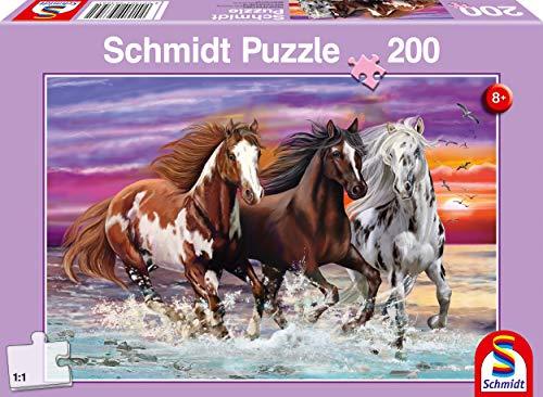 Schmidt Spiele 56356 Wildes Pferde-Trio, Kinderpuzzle, 200 Teile, Bunt