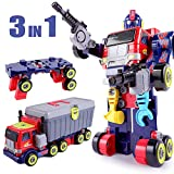 iPlay, iLearn Kids 3 in 1 Transformers Robot Toys, Large-Scale Hero Action Figure, Transfer into Truck & Tool Workbench, Preschool STEM Take Apart Set, Gift Set for 3 4 5 6 7 8 9 Year Olds Boys, Child
