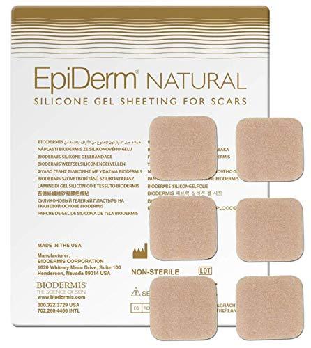 BIODERMIS Epiderm Natural Narbenpflaster aus hautfarbenem Silikon 1x6St, 3 x 3 cm Selbstklebend am gesamten Körper, Zur Narbenpflege nach der OP und um alte Narben zu entfernen …