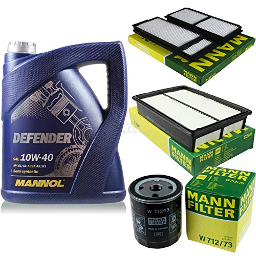 Filter Set Inspektionspaket 5 Liter MANNOL Motoröl Defender 10W-40 API SL/CF MANN-FILTER Luftfilter Innenraumfilter Ölfilter