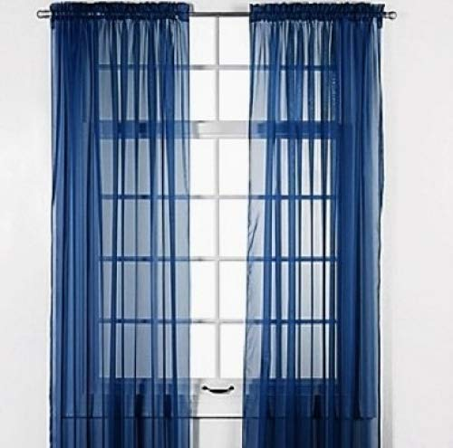 "GorgeousHomeLinenDifferent Solid Colors 2 PC Rod Pocket Sheer Window Curtains Treatment Drape Voile Elegant Panels 55"" Width X 63"" 84"" 95"" Length (84"" Length, Navy Blue)"