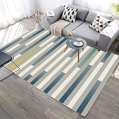 Kunsen Teppich Reinigung Blaugrau gestreifter Teppich rutschfeste schmutzige Dekoration Wohnzimmer vorzimmer möbel havatex Teppich 200X280CM 6ft 6.7' X9ft 2.2'