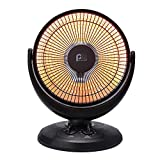 Perfect Aire Oscillating Radiant Dish Heater - Intense Infrared Heat, 2 Heat Settings, Adjustable Head, Tip Over Protection, Perfect for Dorm Rooms, Home Offices or a Small Room, 800W/400W