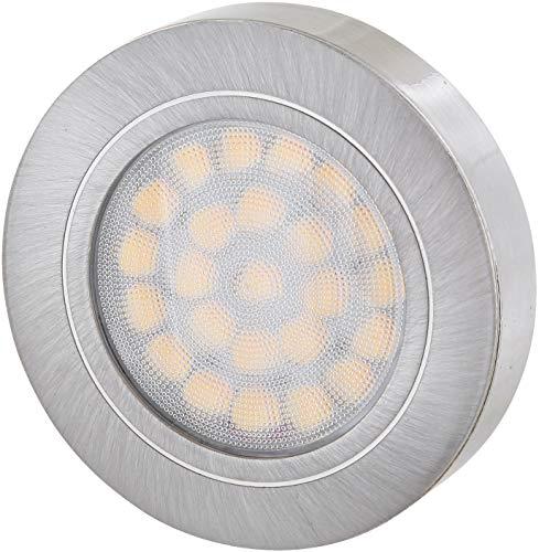 LED Slim Möbel Aluminium Aufbaustrahler 12V MINI-AMP - dimmbar - 2W 120lm - Ø60x14mm - eisen-gebürstet - warmweiß (3000 K)