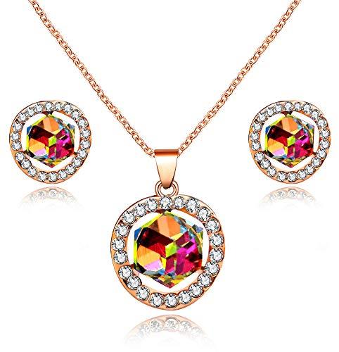 Conjunto de collar de cristal cuadrado chapado en oro rosa y pendientes de tuerca para mujer Y453 (rojo, azul)