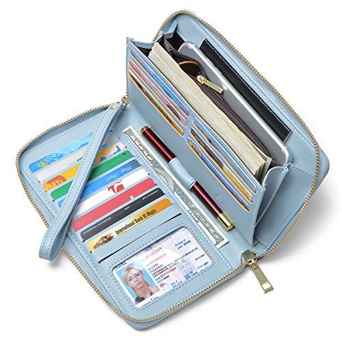 Geldbörse Damen Leder Gross Frauen Clutch Portemonnaie Groß Geldbeutel Lang Portmonee mit 15 Kartenfächer Blau