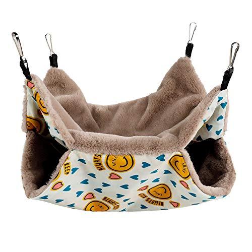 AmzBarley ペットハンモック 小動物用 ハムスターハウス 二層珊瑚 フック付き 再利用可能 寝袋 遊び場 暖かい ゆったり眠れる 保温対策 ふわふわ マウス・ラット・ハムスター・鳥・オウムなどの小さなペットに適用 (S, ベージュ)