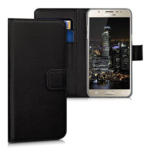 kwmobile Wallet Hülle kompatibel mit Samsung Galaxy J5 (2016) DUOS - Hülle Kunstleder mit Kartenfächern Stand in Schwarz