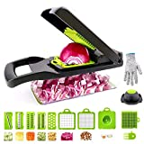 Vegetable Slicer, Kitchen Mandoline Slicer Veggie Cutter Grater Chopper Julienne Slicer With Cut-resistant Gloves, Food Storage Container Tool