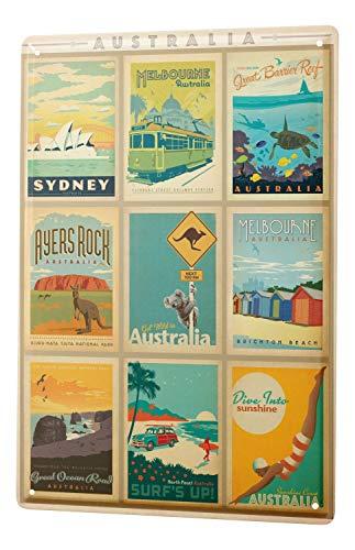 LEotiE SINCE 2004 Blechschild Dekoschild Küche Garage Welt Reise Australien Sehenswürdigkeiten Kollektion Wand Deko Schild 20X30 cm