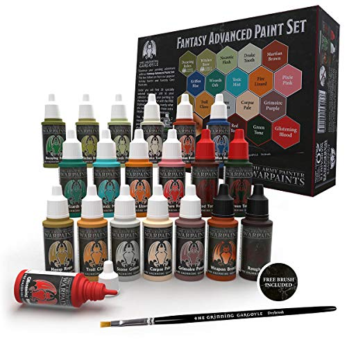 Fantasy Paint Advanced Set - Pinturas acrílicas de Pintor del ejército para miniaturas - Frascos cuentagotas de 20 x 18 ml Incluye Pincel y Pinturas de Guerra para Pintar Figuras – Grinning Gargoyle
