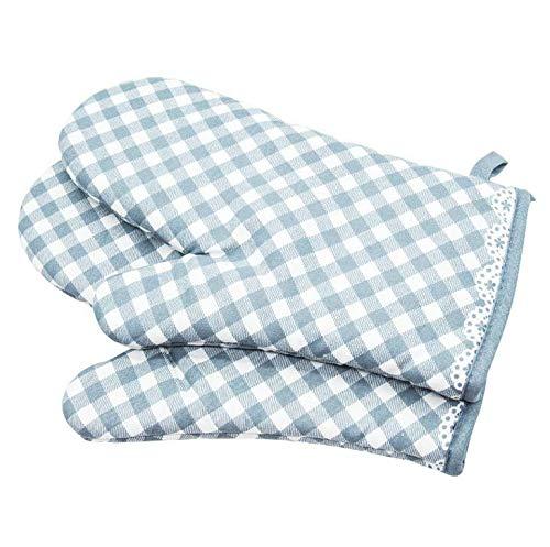 Losuya Ofenhandschuhe Rutschfeste Baumwolle Gesteppte Handschuh-Küche Topflappen Kochhandschuhe, Gitter-Stil (Blau)