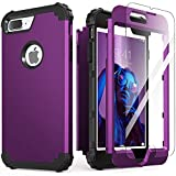 iPhone 8 Plus Case with Tempered Glass Screen Protector, iPhone 7 Plus Case Mint, IDweel 3 in 1 Shockproof Slim Hybrid Heavy Duty Hard PC Cover Soft Silicone Rugged Bumper Full Body Case, Navy Purple