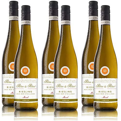 Weisswein Peter & Peter Riesling Steillage Mosel QbA, lieblich, sortenreines Weinpaket (6 x 0,75 l)