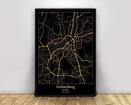 SKLHSIL Tryck duk, Sverige Göteborg stadskarta enkel svart och guld minimalistisk modern konst affisch bild väggmålning målning kontor vardagsrum hem sovrum rymd dekoration nordisk stil 40 x 50