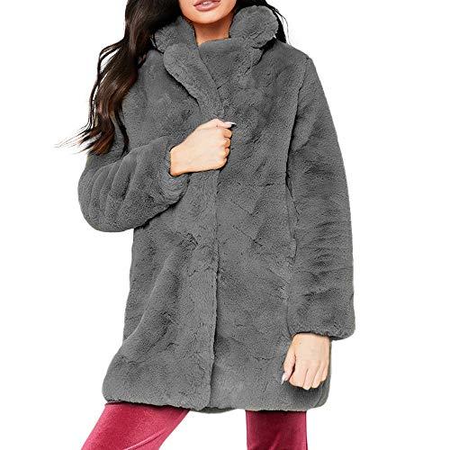 TIZUPI Damen Kunstpelz Mantel Verdicken Pelzmantel Flaumig Warme Outwear Elegant Winter Lange Kunstfell Warme Lange Parka Dicke Jacken Freizeitjacke(Grau,XXXL