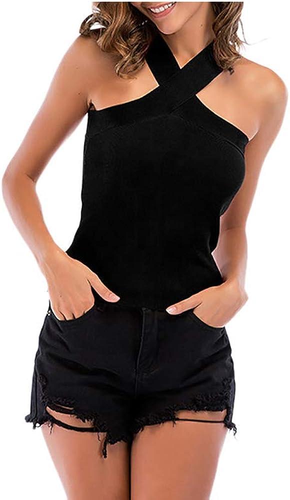 MODOQO Criss Cross Strappy Tank Top Knit Wrap Strap Crop Cami Camisole T-Shirt