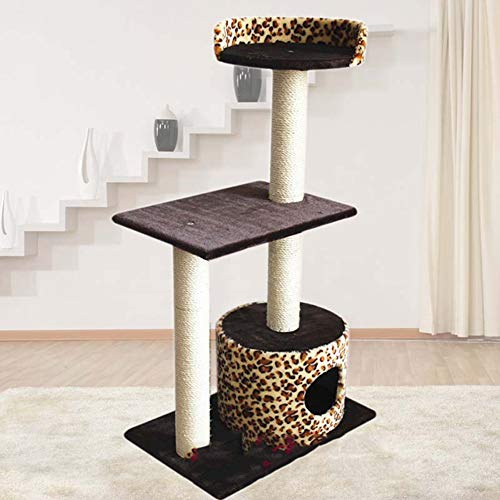 Kat krabpaal, 100cm hoog verwijderbare sisal kattenboom torens activiteitencentrum kitten meubels speelhuisje kat krabpaal, luipaardprint