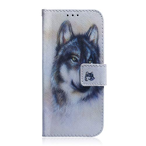 Sunrive Hülle Für ZTE Nubia Z9 Mini, Magnetisch Schaltfläche Ledertasche Schutzhülle Etui Leder Hülle Cover Handyhülle Tasche Schalen Lederhülle MEHRWEG(T Wolf 1)