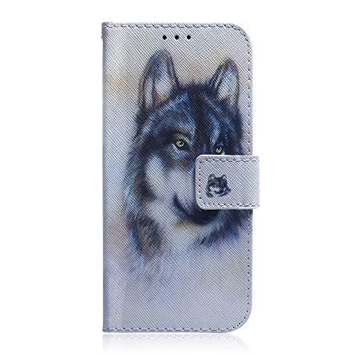 Sunrive Hülle Für BQ Aquaris E5s/E5, Magnetisch Schaltfläche Ledertasche Schutzhülle Etui Leder Hülle Cover Handyhülle Tasche Schalen Lederhülle MEHRWEG(T Wolf 1)