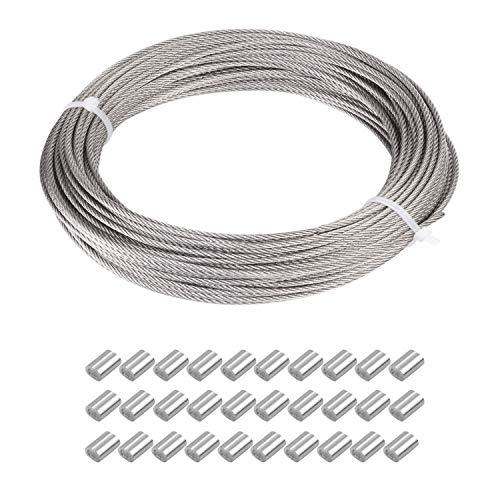 JZK Cable de alambre fino de acero inoxidable con revestimiento de plástico de 1,5 mm x 30 m, con 30 fundas de engarzado, marco de espejo para colgar el cable de jardín