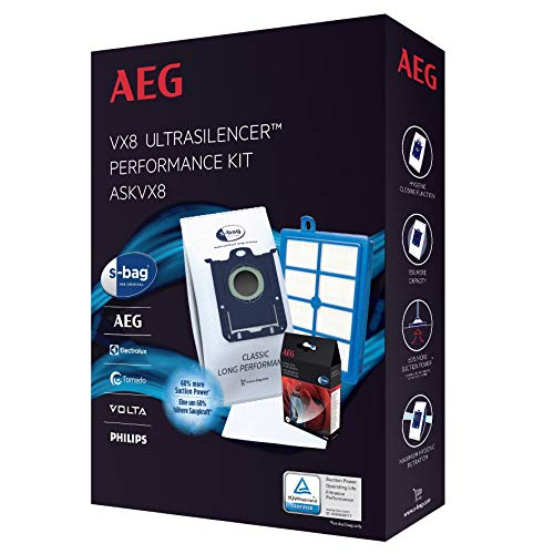 AEG ASKVX8 Performance Kit für VX6-8 (Beutel & Filter, 4 original s-Bag Staubsaugerbeutel GR 201S, 1 Motorfilter, 1 Allergy Plus Filter waschbar, 4er Pack s-Fresh Duftgranulat, weiß)