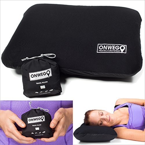 ONWEGO Camping Pillow/Inflatable Travel Pillow/Backpacking Pillow/Best Inflatable Pillow - Ultralight Gear, Compact, Lightweight, Compressible, Portable, Ergonomic - Bus, Car, Airplane