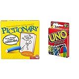 Mattel Games, Pictionary, Gioco in Scatola per Famiglie, Lingua Italiana, DPR76, 8 anni + &UNO Gioco di Carte, W2087