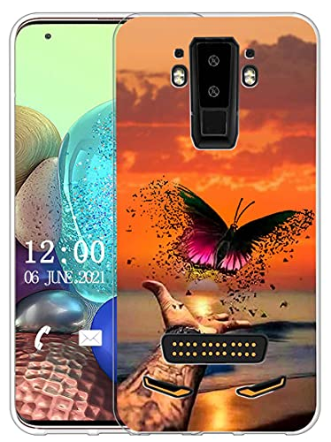 Sunrive Kompatibel mit DOOGEE S90 Hülle Silikon, Transparent Handyhülle Schutzhülle Etui Hülle (X Schmetterling)+Gratis Universal Eingabestift MEHRWEG