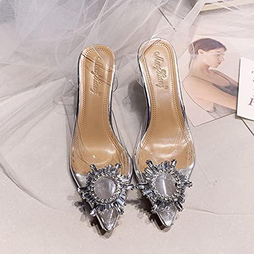YHCS Sandalias de PVC Transparentes Las Mujeres Puntiagudas de la Copa de Cristal claras Talletos de tacón Alto Bombas Sexy Zapatos de Verano Peep Toe Mujeres Bombas Tamaño 43