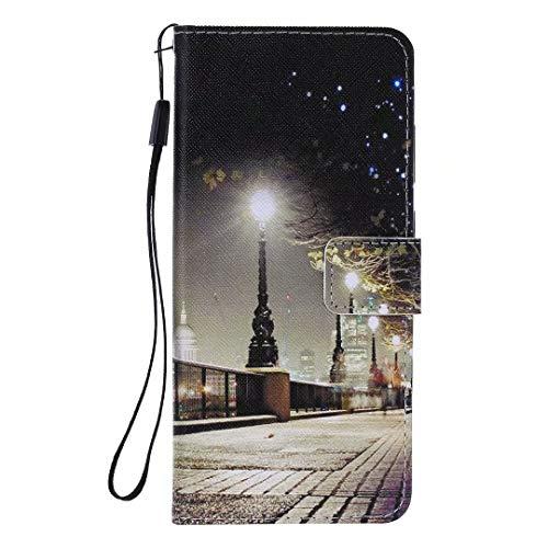 Miagon Flip PU Leder Schutzhülle für iPhone XS Max,Bunt Muster Hülle Brieftasche Case Cover Ständer mit Kartenfächer Trageschlaufe,Stadt Szene